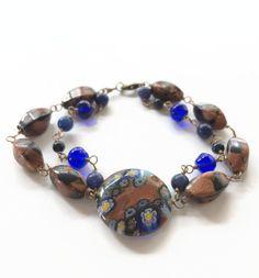 Sapphire and Sandstone Multi Strand Beaded Bracelet Blue and Gold Wire Chain Bracelet Boho Bracelet Gypsy Style Beaded Chain Bracelet (WC44) by JulemiJewelry on Etsy
