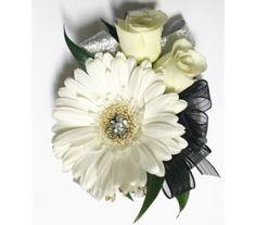 Black & Silver with Gerbera Wrist Corsage