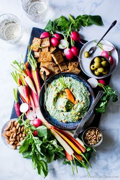So versatile, make ahead easy and freezer friendly. Serve with the freshest veggies and crusty bread or crackers. Pesto-Spinach Whipped Ricotta Dip whips up in no time flat for easy entertaining. vegetarian + gluten free