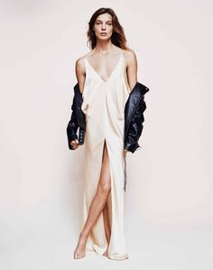 Daria models leather jacket with Calvin Klein slip dress