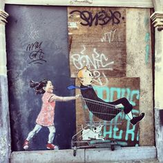 Brussels comes alive in the new works of Lithuanian street artist Ernest Zacharevic, who plays with his childish imagination