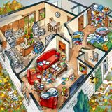 Messy house cutaway illustration by Rabinky Art (Click through to find a zoomable version.)