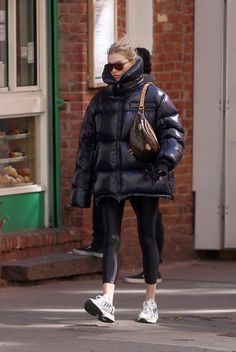 Elsa Hosk Street Style in a Chunky Off White Leather Lace Up Sneakers Out And About In, Fall Winter Purple Fashion, 70s Fashion, Look Fashion, Winter Fashion, Womens Fashion, Fashion Brands, Black Tights, Black Leggings, Leather Leggings