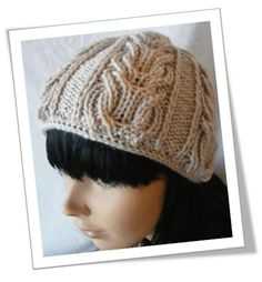 Double Lyre Hat - double-sided cable - ingenious! With I-Cord cast on, it makes the hat reversible.