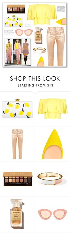 """""""Yellow and Nude"""" by hellodollface on Polyvore featuring Edie Parker, Boohoo, Sies Marjan, Anastasia Beverly Hills, Old Navy, Karen Walker, PopsOfYellow and NYFWYellow"""