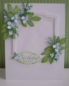 Accessories & Tools:  Big Shot, Nestabilities Labels Two (Spellbinders), Leaves die (C.C. Designs), Fern punch (McGill), Hydrangea punch (Martha Stewart), medium oval punch, mat pack and stylus, sponges, pale blue mini half-pearls, glue, adhesives and dimensionals
