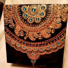 Midnight Black Keepsake Jewelry Box, Hand Painted in Copper