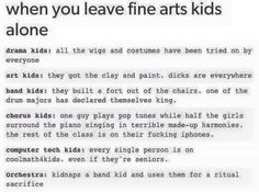 As a orchestra student, the last one is the most truest of them all. <<< As a band kid, flutes are the worst and saxophones are the best My Tumblr, Tumblr Posts, Tumblr Funny, Music Jokes, Music Humor, Orchestra Humor, Funny Music, Choir Humor, Choir Memes