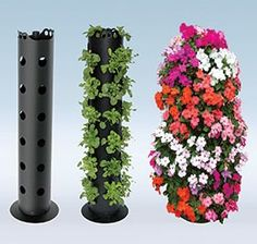 3ft Plant Tower - grows flowers or edible plants like tomatoes, strawberries, and herbs. I bet you could make this out of some ABS pipe or a drainage pipe. Very Clever!