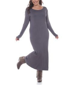 Look what I found on #zulily! Charcoal Long-Sleeve Maxi Dress - Plus #zulilyfinds