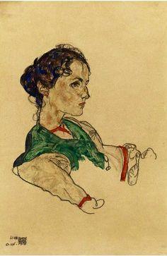 Schiele, Egon (1890-1918) - 1918 Portrait of the Artist Silvia Koller (Sotheby's London, 2010) by RasMarley, via Flickr