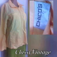 Pale yellow spring jacket  by Chico's Zipper front and unlined. Light weight fabric and four pocket front. Pale yellow in color! This is Chico's and there sizes are different. Size 1 Chico's is equal to size 8 or med. bust to size 37 Chico's Jackets & Coats