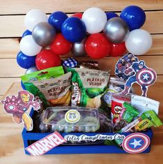 Food Hampers, Paper Rosettes, Surprise Box, Party Shop, Snack Recipes, Snacks, Pop Tarts, Avengers, Birthday Gifts