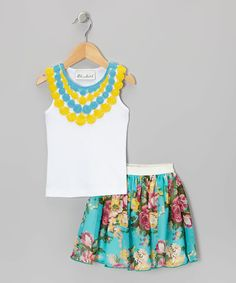 Take a look at this White Crochet Necklace Tank & Aqua Floral Skirt - Toddler & Girls on zulily today!