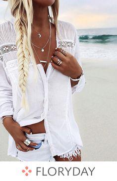 Women Boho Summer Beach Lace tops and Blouse elegant Long Sleeve harajuku tee Shirt femme white vintage camisa feminina Shirts & Tops, Shirt Blouses, White Fashion, Boho Fashion, Fashion Clothes, Fashion Women, Dress Clothes, Clothes Women, 80s Fashion