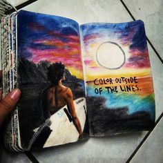 Colour outside lines.beach, sunset, and surf image Art Journal Pages, Art Pages, Art Journal Inspiration, Art Inspo, Art Sketches, Art Drawings, Create This Book, Wreck This Journal, Art Sketchbook