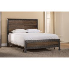 Hillsdale Furniture Mackinac Collection Queen Size Bed with Headboard, Footboard, Rails, Decorative Studded Metal Borders and Industrial Style Design in Old Black with Driftwood Finish King Beds, Queen Beds, Wood Bedroom Furniture, Modern Furniture, Furniture Ideas, Hillsdale Furniture, Stylish Beds, Queen Bedding Sets, Comforter Sets