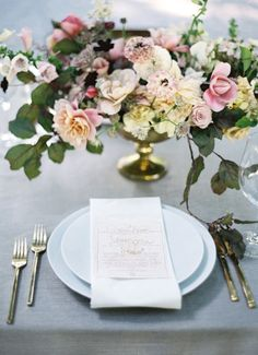 Wedding Wednesday : On Trend - Floral Designs in Metallic Compotiers | Flowerona (Nicolette Camille | Jose Villa Photography | Style Me Pretty)