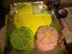 Made for a double baby shower...smaller cakes for each of the mothers - one having boy, one having a girl