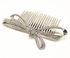 Rhinestone Bow Bridal Hair Comb ~ Carolyn - Hair Comes the Bride Bridal Hair Accessories & Headpieces, Wedding Jewelry, Hair & Makeup