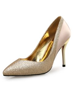 #AdoreWe #VIPme Heels & Pumps - VICONE Light Gold Pointy Glitter Patchwork Party Pumps - AdoreWe.com