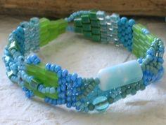 Ice Baby  Free Form Peyote Stitch Beaded Bracelet by Cheri C Meyer, $90.00