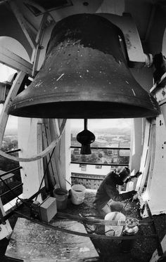 Welder Works On Memorial Church Bell