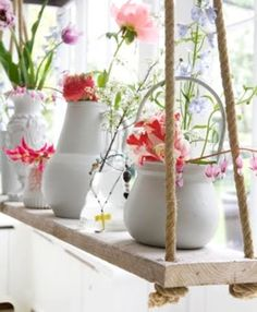 The best DIY projects & DIY ideas and tutorials: sewing, paper craft, DIY. Diy Crafts Ideas DIY - h with ropes -Read Hanging Rope Shelves, Plant Shelves, Window Shelves, Suspended Shelves, Outdoor Shelves, Diy Dorm Decor, Dorm Decorations, Home Decor, Flower Decorations