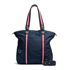 Grainy nylon tote with Tommy Hilfiger signature stripe webbing and leather trim on the bag and handles. Dark silver hardware. Tommy Hilfiger logo flag on the front. Zippered top. Never lose your keys again: simply attach them to the branded key fob. Signature jacquard lining.Dimensions: 41 x 12 x 39cm.
