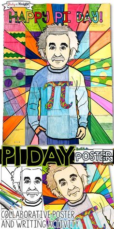 PI DAY ACTIVITY COLLABORATIVE POSTER WITH WRITING PROMPT.  Collaboration for Pi Day is fun with this poster for your math teaching lessons. Teachers will receive 3 size options to use for this Pi Day writing activity poster. Albert Einstein appears to be very relaxed in his Pi Day shirt. It will bring cheer to any math, algebra, or geometry classroom. Use it in English language arts, science, and social studies, too! It's just fun! ($)