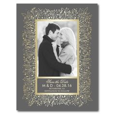 Baby's Breath Gold Frame Photo Save the Date