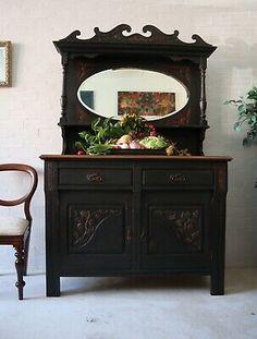 Large Painted Victorian Mirrored Dresser Sideboard     eBay Victorian Dressers, Victorian Mirror, Old Dressers, Painted Sideboard, Painted Furniture, Furniture Projects, Furniture Makeover, Dresser With Mirror, Mirrored Dresser