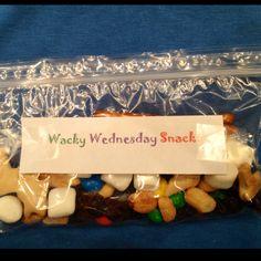 Wacky Wednesday Snack for Dr. Seuss week. Pretzels, m's, animal crackers, marshmallows, peanuts, raisins.