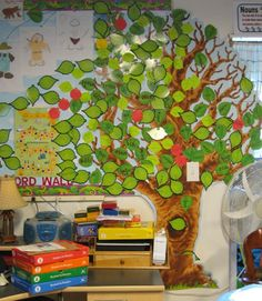 Vocabulary word tree. Starts out bare, but by the end of the year is full of all the words they learned.