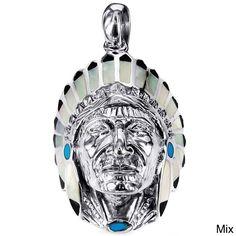 Native American Indian Chief Head Stone .925 Silver Pendant