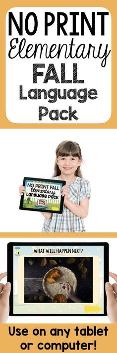 Target vocabulary, making predictions, wh-questions, discussion, and more with the Fall No Print Language pack for elementary students. Great for fall speech therapy!
