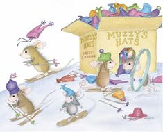 """Monica, Mudpie, Maxwell, Muzzy and Amanda from House-Mouse Designs® featured on the The Daily Squeek® for March 12th, 2013. Click on the image to see it on a bunch of really """"Mice"""" products."""