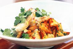 This tasty thai infused dish is perfect for a dinner party. Thai Recipes, Cooking Recipes, Tasty Thai, Sweet Chilli Sauce, Thai Dishes, Fresh Coriander, Recipe Collection, Fresh Herbs, Tray Bakes