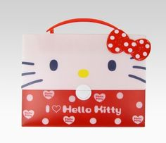 "Hello Kitty Document Case: White Dot Ribbon | - 10""H x 13.25""W x 2""D  - handle height: 2"""