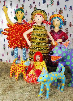 Yayoi Kusama and her polka dot creations. Love that dog!