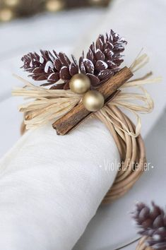 32 Festive Christmas Table Decorations To Brighten Up Your Feast Christmas Napkin Rings, Christmas Napkins, Etsy Christmas, Rustic Christmas, Christmas 2019, Holiday Centerpieces, Christmas Tablescapes, Christmas Table Decorations, Holiday Tables