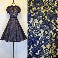 Vintage 50s ILLUSION Dress XS S  Blue Chantilly by labellevintage Women's vintage fashion clothing outfit for parties