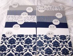 Wedding Guest Book Box - Navy Blue, Silver, White and Charcoal Gray, White Shabby Chic Box, Custom color available. $68.00, via Etsy.