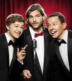 Two and a Half Men now featuring Angus T. Jones, Ashton Kutcher, and Jon Cryer.