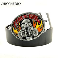 >> Click to Buy << Mens Big Oval Buckle Leather Belts Fear No Evil Flame Motorcycle Skull Belt Buckles Cool Hip Rock Punk Style Cinturones Hombre #Affiliate