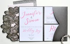 Silver and Pink wedding invitation laser cut by SLAYandMAKER