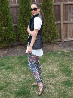 Floral Leggings, White Tunic, Leather Vest
