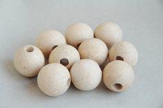 28 mm Wooden beads 50 pcs  big hole 8 mm  by ukrainianwoods