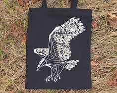 Black and Gold Eagle Cotton / Canvas Tote Bag with Zipper by The PeachBlackWorkshop
