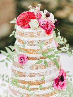 naked wedding cake, photo by Amy Arrington http://ruffledblog.com/georgia-wedding-with-the-ultimate-naked-cake #weddingcake #cakes